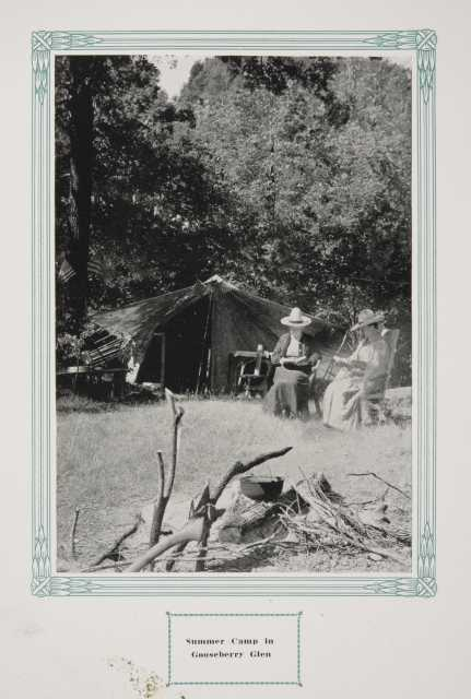 """Camp in Whitewater State Park, ca. 1917. Original caption: """"Summer Camp in Gooseberry Glen."""" From The Paradise of Minnesota: The Proposed Whitewater State Park (L. A. Warming, 1917)."""