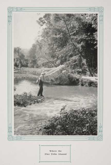 """Fisherman in Whitewater State Park, ca. 1917. Original caption: """"Where the Finy [sic] Tribe Abound."""" From The Paradise of Minnesota: The Proposed Whitewater State Park (L. A. Warming, 1917)."""