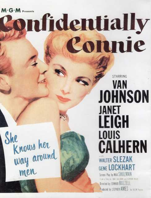 The poster for Confidentially Connie, the 1953 film adaptation of the novel of the same name by Max Shulman.
