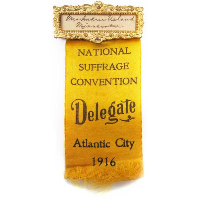 Photograph of Clara Ueland's 1916 National Suffrage Convention badge
