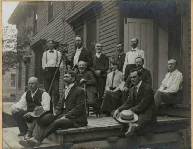 County Officials and John Brown in front of old Cottonwood County Courthouse