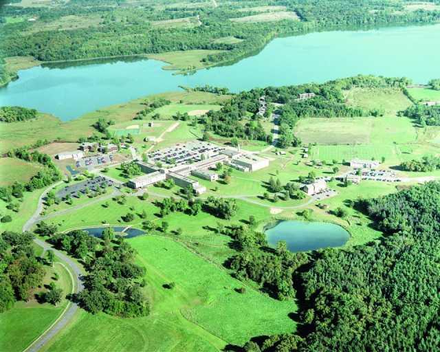 Aerial photograph of the Crown College campus in St. Bonifacius.