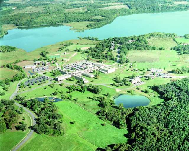 Aerial photograph of the Crown College campus in St. Bonifacius.