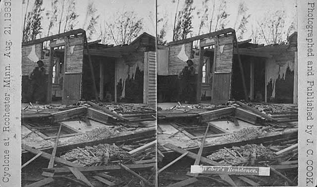 Ruins of Weber's residence after cyclone, Rochester.