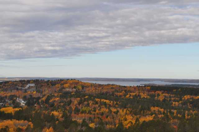Color image of a gray sky over Lake Vermilion. Photograph by Minnesota Department of Natural Resources Staff.