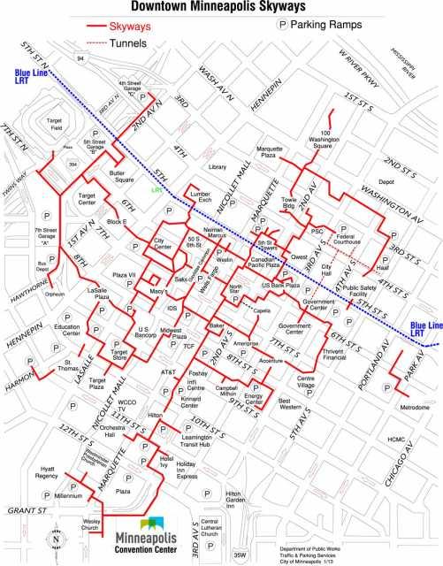 photo regarding Minneapolis Skyway Map Printable known as Downtown skyway map MNopedia