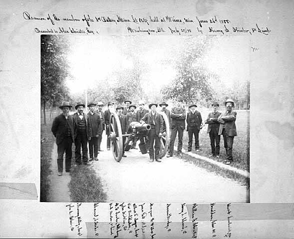 Black and white photograph of reunion of the 1st Battery Minnesota Artillery at Winona, 1888.