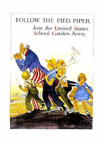 Color poster promoting school gardening programs, c.1918.