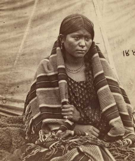Black and white photograph of Apistoka at Fort Snelling concentration camp, c.1862–1863. Photograph by Benjamin Franklin Upton.