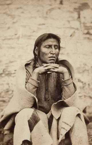 Black and white photograph of Dakota Leader Wakanozhanzhan (Medicine Bottle) at Fort Snelling, 1864.