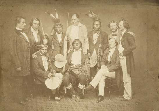 Black and white photograph of a Dakota treaty delegation in Washington, 1858.