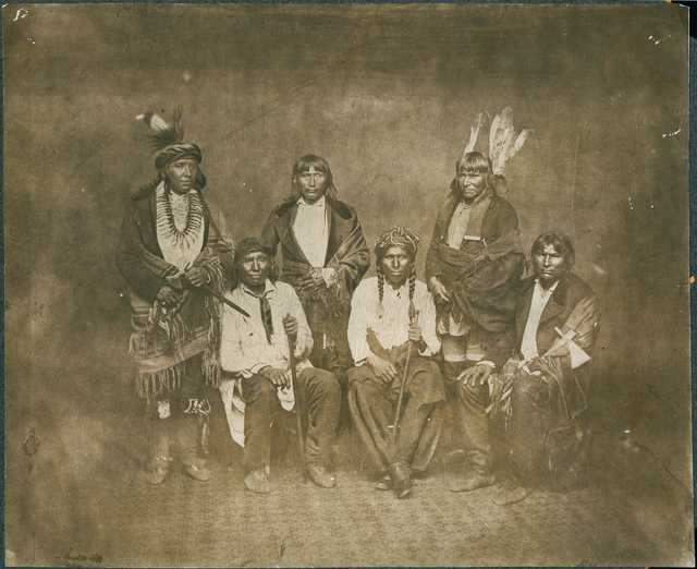 Black and white photo print of Dakota Indian Treaty Delegation, c.1858.