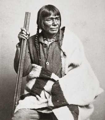 Black and white photograph of Quewesansish (Bad Boy), c.1860. Quewesansish was a leader of the Gull Lake Ojibwe.