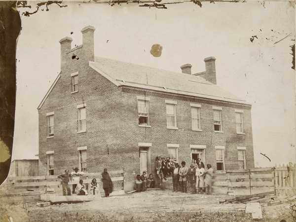 Black and white photo print of Ho-Chunk (Winnebago) Indian Agency, c. 1860.