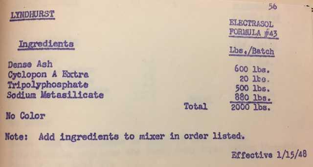 Electrasol formula, 1948.