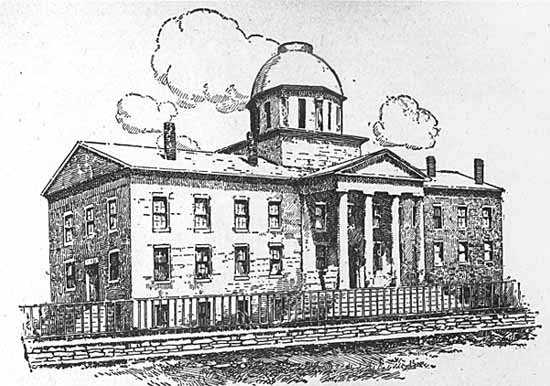 Black and white photo print of a drawing of the first Minnesota state capitol, c.1853–1873.
