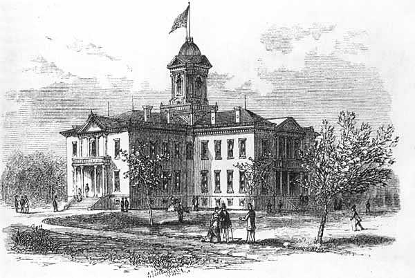 Illustration of the first State Capitol, Tenth and Wabasha, St. Paul, 1875, showing the 1873 addition. From, Harper's Monthly, October 1875, p. 629.