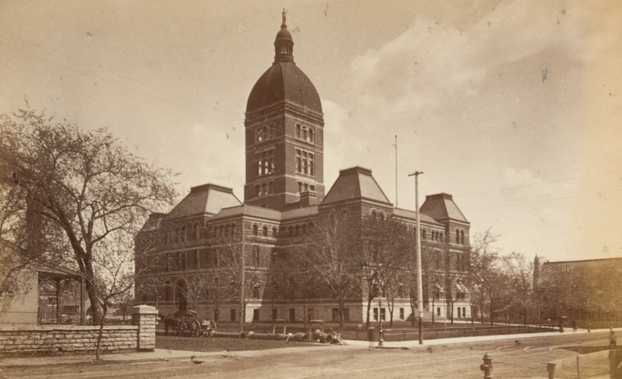 Black and white photograph of the second State Capitol, 1886.