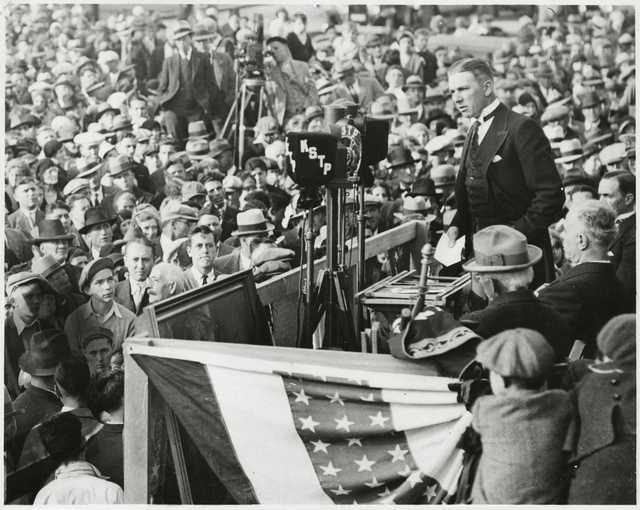 Governor Floyd B. Olson speaking at Columbus Memorial dedication ceremony