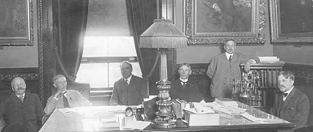Black and white photograph of members of the Minnesota Commission of Public Safety meeting at the Capitol in St. Paul, c.1918.