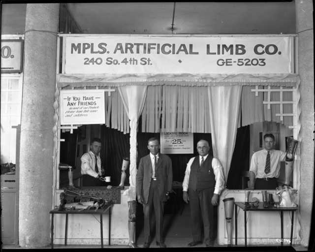 Black and white photograph of Minneapolis Artificial Limb Company at the State Fair, c.1922.
