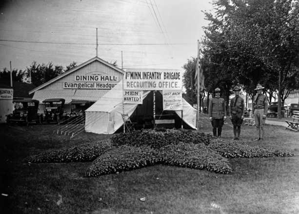Black and white photograph of a recruiting office for the 1st Minnesota Infantry Brigade, 1917 Minnesota State Fair.