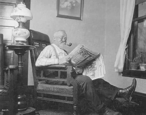 Ogden Gunderson reading The Farmer.