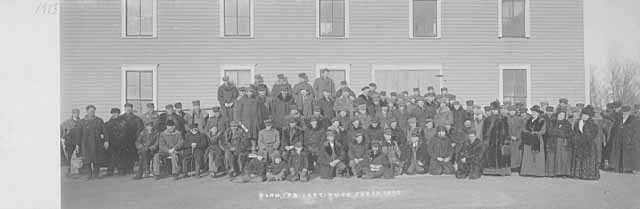 Farmers gathered for group photograph in Kerkhoven, Minnesota.