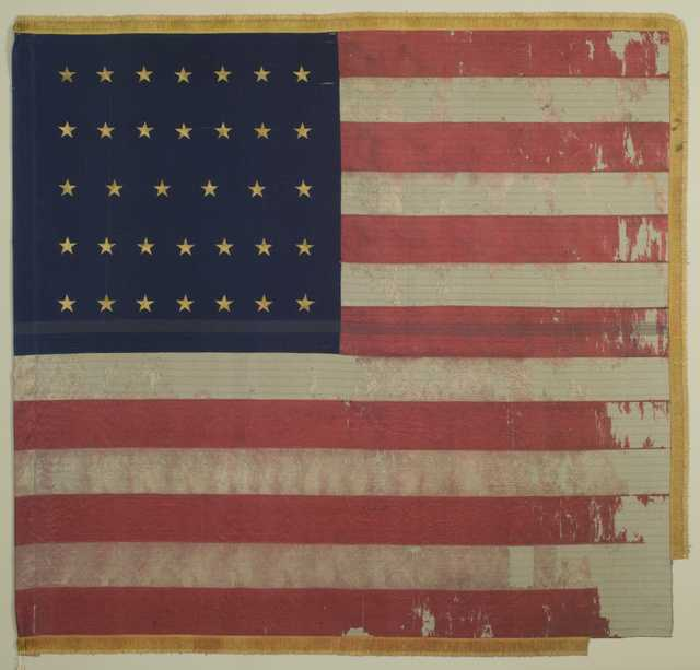 A United States battle flag carried by the Fifth Minnesota