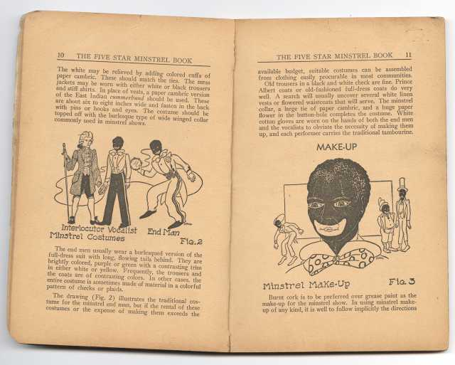Inside spread of The Five Star Minstrel Book, describing the iconic details of traditional minstrel-show costume and makeup.