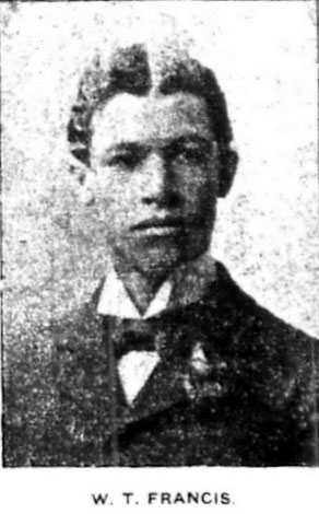 Black and white photograph of a young W.T. Francis. The image is from the St. Paul Appeal, May 2, 1903, p. 3, when Francis was thirty-four, but shows Francis years earlier. This is the first known photograph of him.