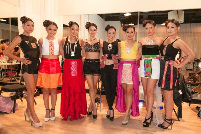 Color image of models participating in the Fresh Traditions VII Fashion Show, October, 2013.