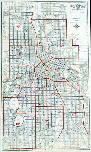 Color scan of a City of Minneapolis Election Map, 1946.