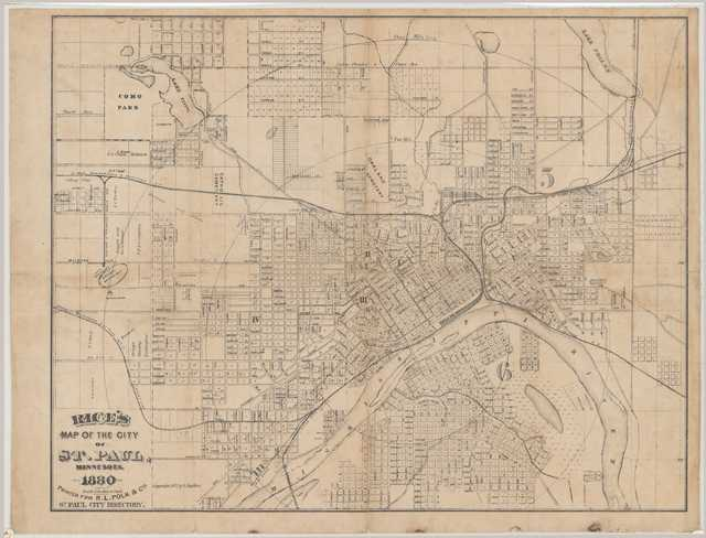 Map showing the physical size of the West Side of St. Paul (Ward 6), 1880.