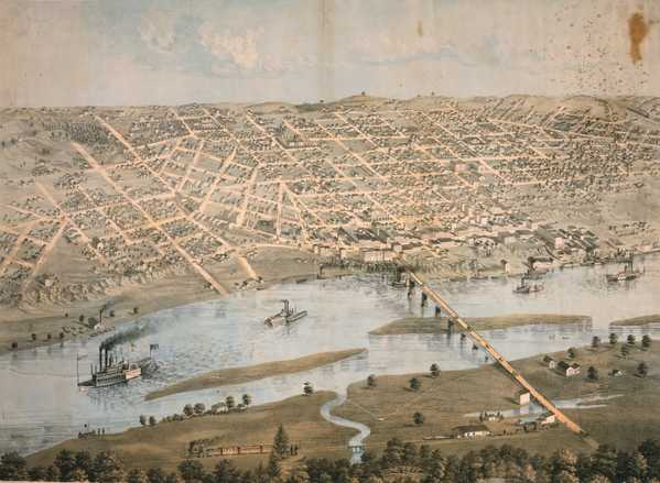 Color lithograph map of downtown St. Paul and West Side Flats, 1867. Lithograph by Albert Ruger.