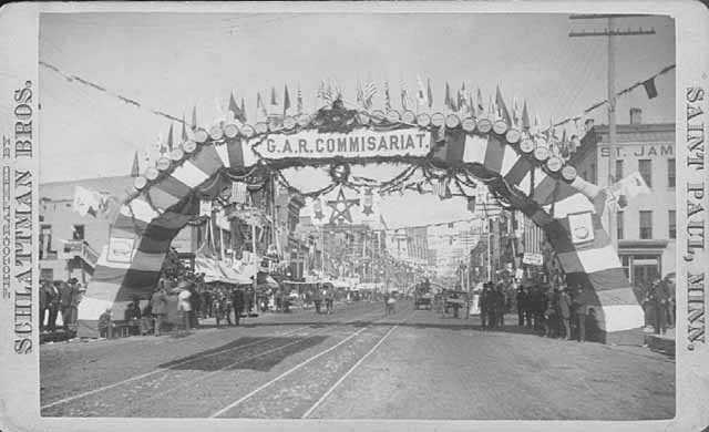 National Encampment of the Grand Army of the Republic, Second Avenue South and Washington Avenue, Minneapolis.