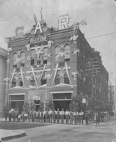St. Paul Fire Department headquarters, northwest corner of Eighth and Minnesota, decorated for the Thirtieth National Encampment of the Grand Army of the Republic.
