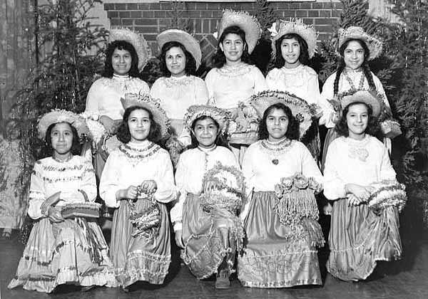 Black and white photograph of Young Mexican American women in Minnesota, c. 1950.
