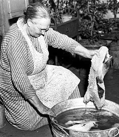Photograph of woman preparing lutefisk
