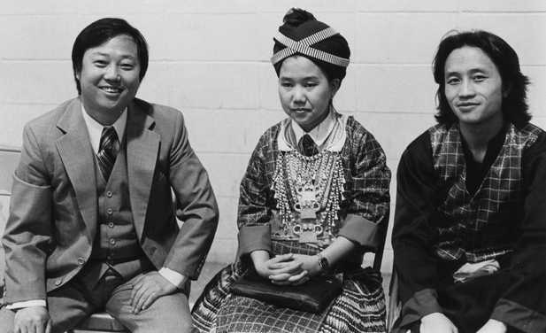 Black and white photograph of a Hmong wedding reception in St. Paul, 1981. Photographed by Michael Kieger.