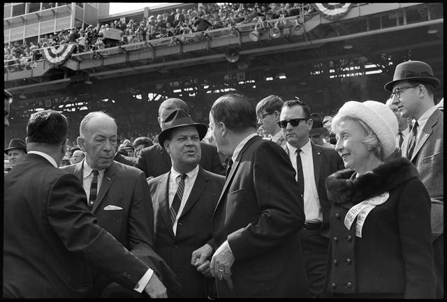 Karl Rolvaag, Calvin Griffith, Hubert Humphrey, and Muriel Humphrey