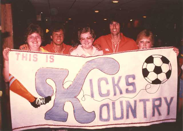 Minnesota Kicks fans hold a banner at Metropolitan Stadium, June 1980.