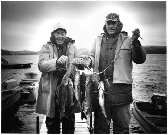 Minnesota Governor Karl Rolvaag and Iowa Governor Harold E. Hughes at the walleye opener at Gunflint Lake, May 15, 1965.