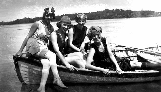 Bessie Stiegler and three other women in a row boat