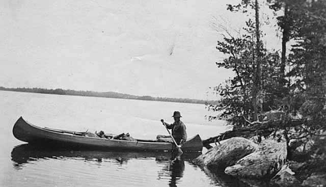 Black and white photograph of an early trip to what is now the Boundary Waters Canoe area, ca. 1916.