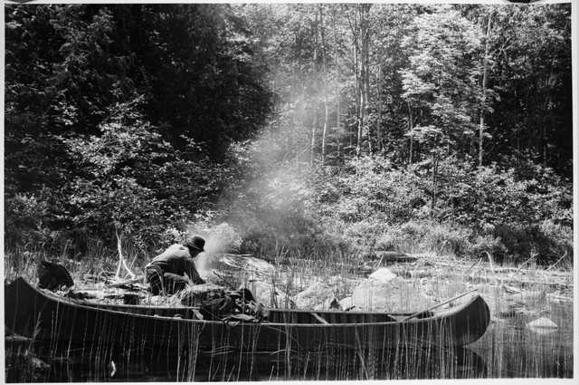 Ca. 1910 image of Ernest Oberholtzer on a canoe trip in the Quetico–Superior region.