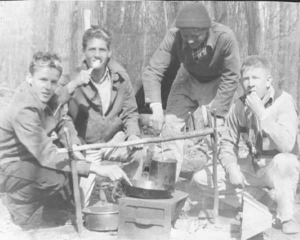 Black and white photograph of boys for the State Public School on a camp out, c.1940.