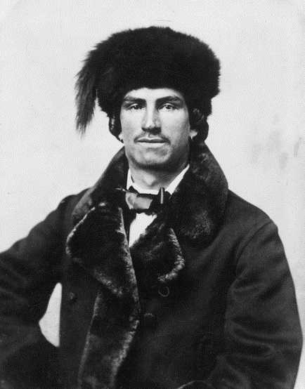 Black and white photograph of an unidentified Métis fur trader of Indian and French Ancestry, ca. 1870.