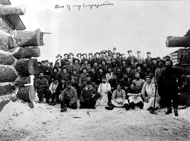 Black and white photograph of a Lumber camp crew, ca. 1915.