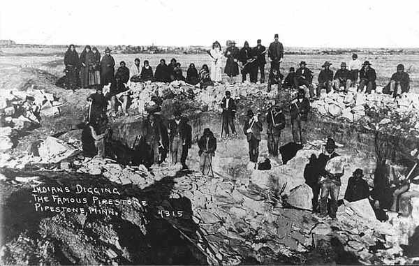 Native Americans quarrying pipestone at Pipestone Quarry